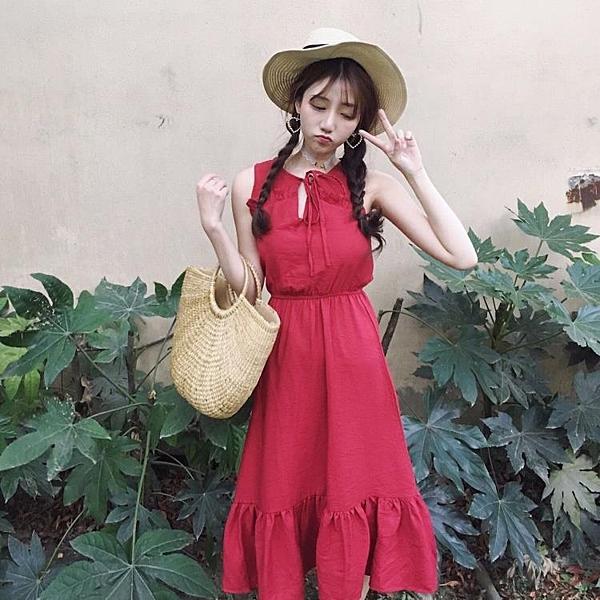 [超豐國際]女裝中長款寬松收腰木耳邊麻棉純色無袖背心連衣裙女(1入)