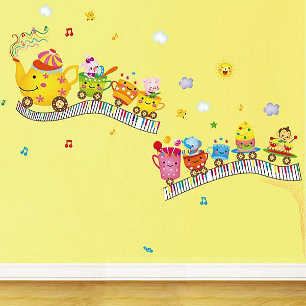 壁貼 動物杯子玩具小火車 創意壁貼 無痕壁貼 壁紙 牆貼 室內設計 裝潢【BF0916】Loxin