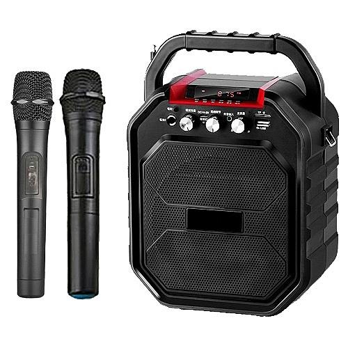 大聲公樂樂型無線式多功能手提行動音箱/喇叭 (雙手持麥克風)