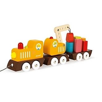 Janod   經典設計木玩 胖嘟嘟工程火車