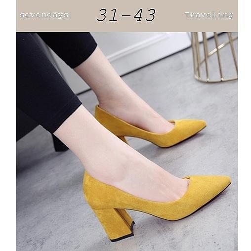 大尺碼女鞋小尺碼女鞋尖頭蜜桃絨布質感素面粗跟中跟鞋高跟鞋工作鞋黃色(31-43)現貨#七日旅行