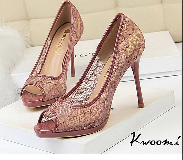 魚口高跟鞋 蕾絲透膚法式細跟 晚宴鞋 新娘鞋*Kwoomi-A92
