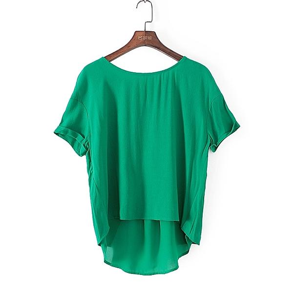 [超豐國際]格春夏裝女裝綠色寬松舒適不規則雪紡衫 42044(1入)