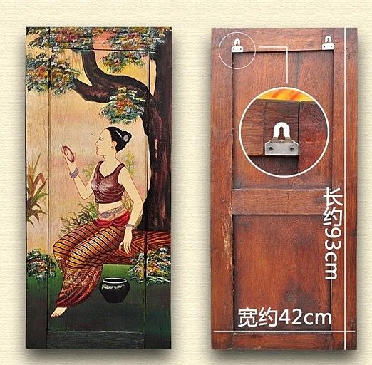 【協貿國際】泰國工藝品特色家居藝術美女布油畫掛板