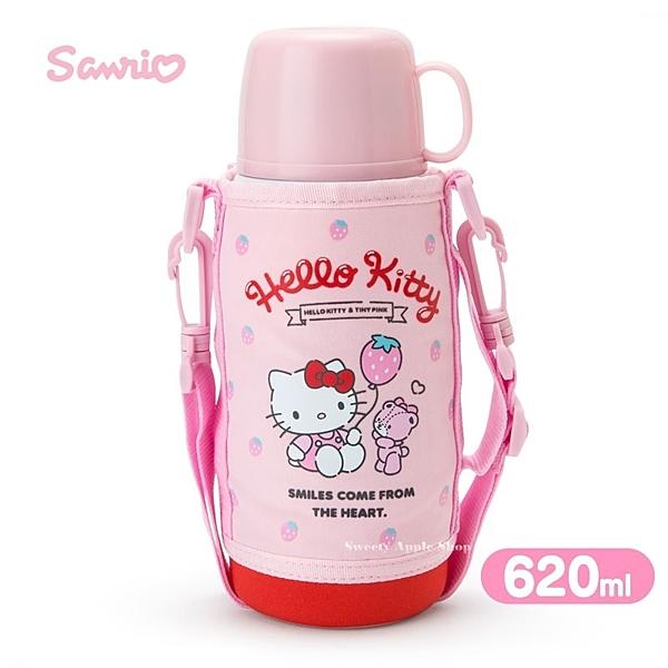 日本限定 HELLO KITTY 凱蒂貓 2WAY 草莓系列 不銹鋼 背帶 2用 保溫保冷水壺 / 保溫杯 / 保冷瓶