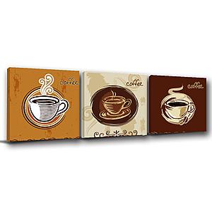 24mama掛畫-三聯式 咖啡 插畫風無框畫-50x50cm