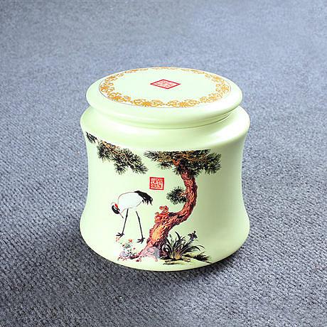 松鶴小豐收茶葉罐