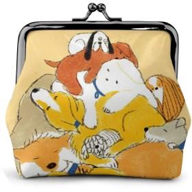 小銭入れ ミニ財布 コインケース ミニポーチ お札入れ かわいい柴犬 柄 小さい財布 PUレザー 小型でコンパクト 軽量 コイン 鍵 カード収納 約幅11.5cmx丈10.5cm