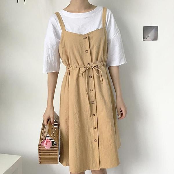 [超豐國際]夏季復古學院風收腰顯瘦棉麻連衣裙女單排扣無袖1入