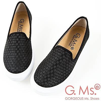 G.Ms. MIT系列-極輕量樂福懶人休閒鞋-編織黑