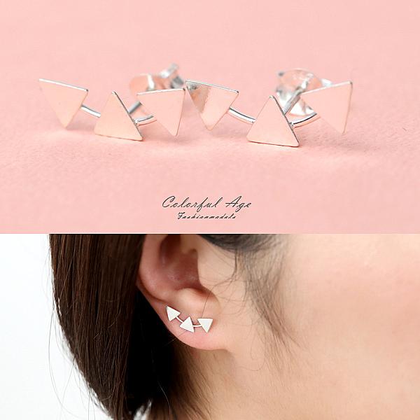 銀飾 小三角耳針純銀耳環【NPD182】一對價格