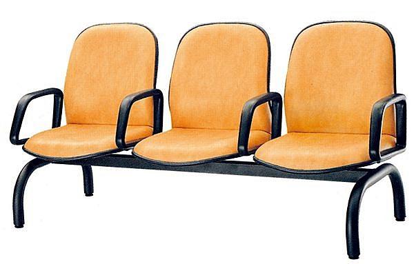 HY-Y195-14  3人座圓管皮面有手排椅(PU泡棉/烤黑)