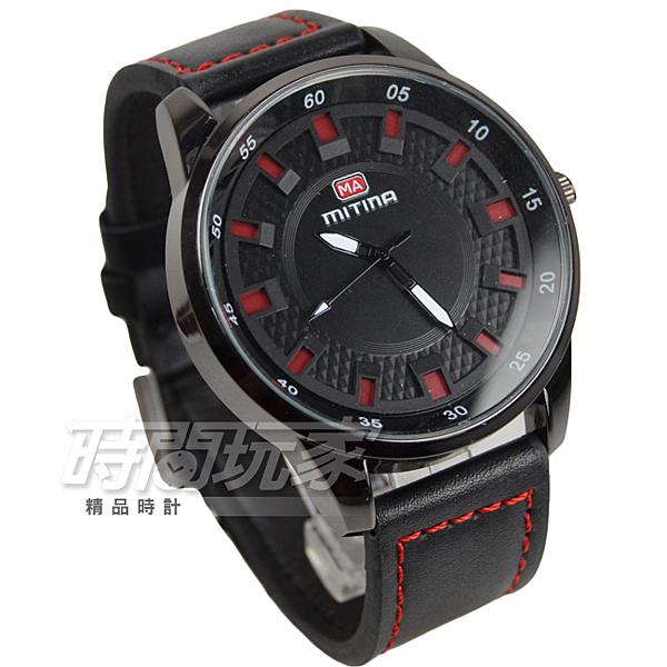 MITINA米提娜 時尚個性錶 防水手錶 男錶 學生錶 IP黑電鍍 皮革錶帶 M882紅黑