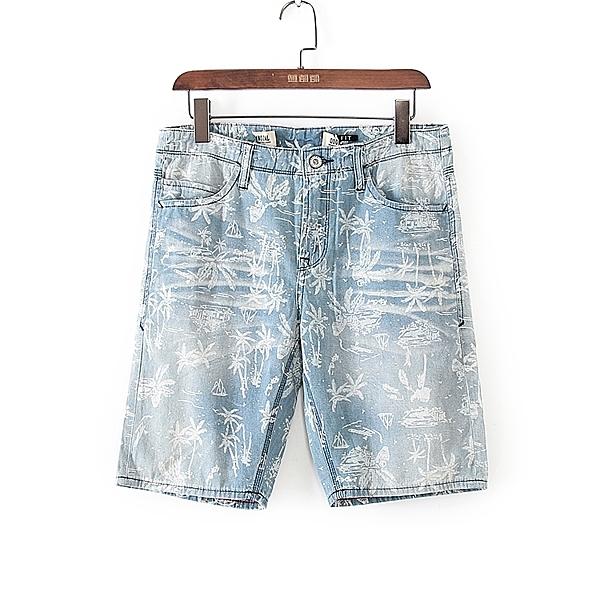 [超豐國際]堅春夏裝男裝藍色夏威夷風簡印牛仔褲 42798(1入)