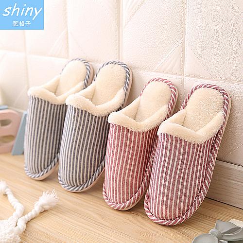 【X034】shiny藍格子-暖鮮色彩.秋冬豎條紋毛毛居家室內棉拖鞋