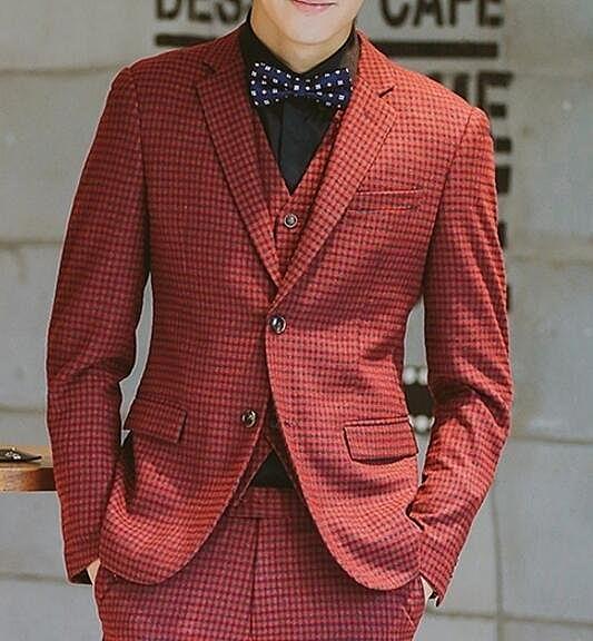 FINDSENSE品牌 韓國男 羊毛呢格子 四件式西裝外套 成套西裝 成套西裝 西裝外套 外套+襯衫+背心+褲子