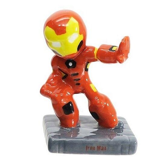 〔小禮堂〕漫威英雄 Marvel鋼鐵人 迷你造型陶瓷擺飾《橘黃.站姿》公仔.模型 4942423-25064