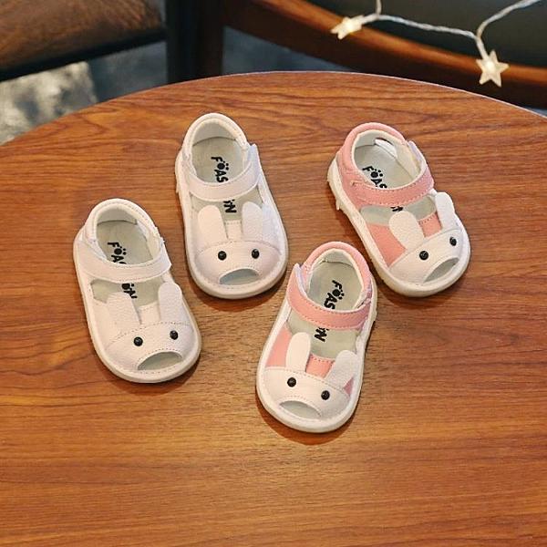學步鞋 2019夏季新款男女寶寶真皮涼鞋6-12個月兒童學步鞋 卡通叫叫涼鞋【快速出貨】