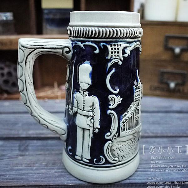 【英國倫敦塔橋】德國啤酒杯家居個性陶瓷擺件