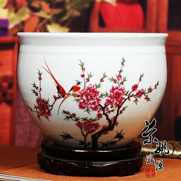 【中號】景德鎮陶瓷器 養魚缸a07