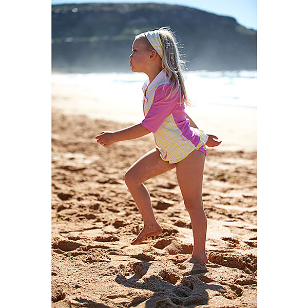 #澳洲鴨嘴獸精品兒童泳衣 防曬5分袖夾克 香鳳梨系列 UPF 50+ 抗UV 女童4-8歲