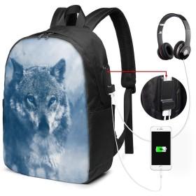 オオカミの野生動物 リュック ビジネスリュック パソコンリュッ バックパック リュックサック 防水 撥水加工 大容量 メンズ レディース バッグ リュック USB ポート搭載 多機能 通勤 通学 旅行 出張 人気 耐衝撃 おしゃれ 軽量