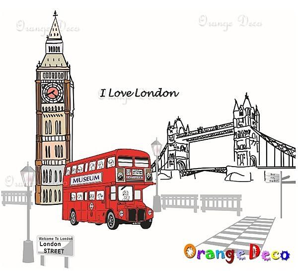 壁貼【橘果設計】倫敦雙層巴士 DIY組合壁貼/牆貼/壁紙/客廳臥室浴室幼稚園室內設計裝潢