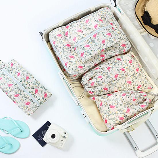 火鶴鳥圖案收納五件套 行李箱 打包 整理 行李袋 登機 可折疊【N093】生活家精品
