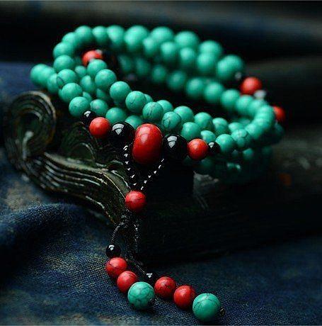 本命年 手鏈飾品 松石雙層辟邪 佛珠