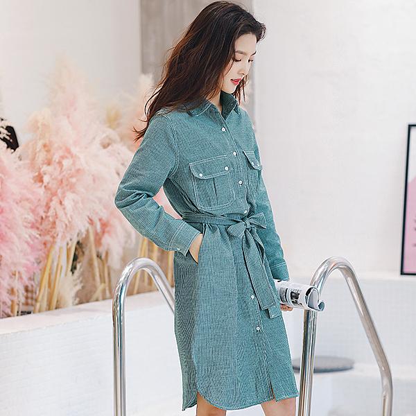 【5680-0427】韓版條紋顯受繫帶寬鬆中長款襯衫裙 連身裙 (綠/S.M.L)