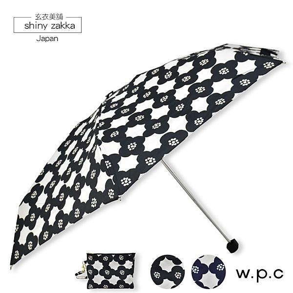 抗UV摺疊傘-日本品牌w.p.c黑色大花朵晴雨折傘-玄衣美舖