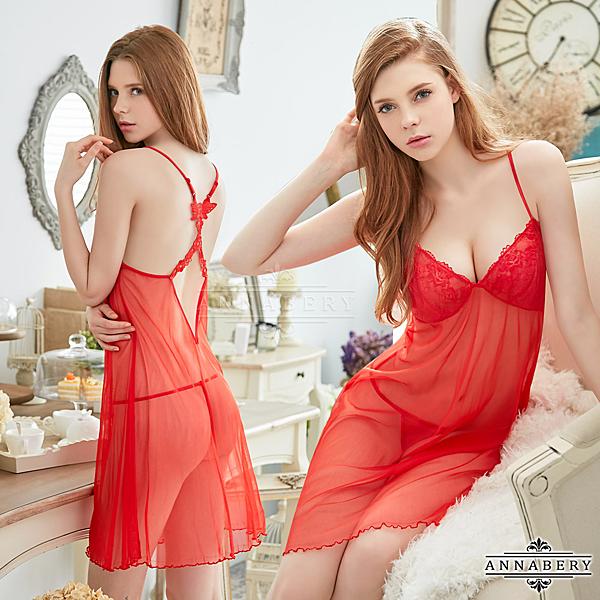【得易屋量販】★大尺碼Annabery火辣紅色柔紗交叉美背二件式性感睡衣★紅色┌NY18020016