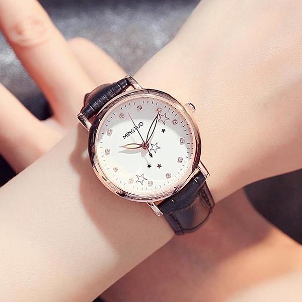 可愛時尚休閒女款兒童手錶女學生正韓簡約皮帶夜光防水女士電子錶WY