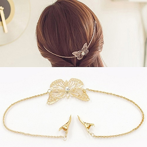 【NiNi Me】 韓系髮飾 優雅蝴蝶翩翩起舞水鑽髮帶髮夾 髮帶 H9253