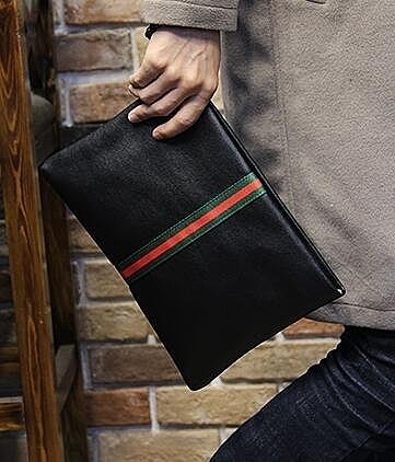 FINDSENSE Z1 韓國 時尚 潮 男 黑色 皮質 條紋 休閒 手拿包 皮