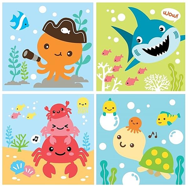 LOVIN 超萌韓版數字油畫海洋系列(05-08) 4幅