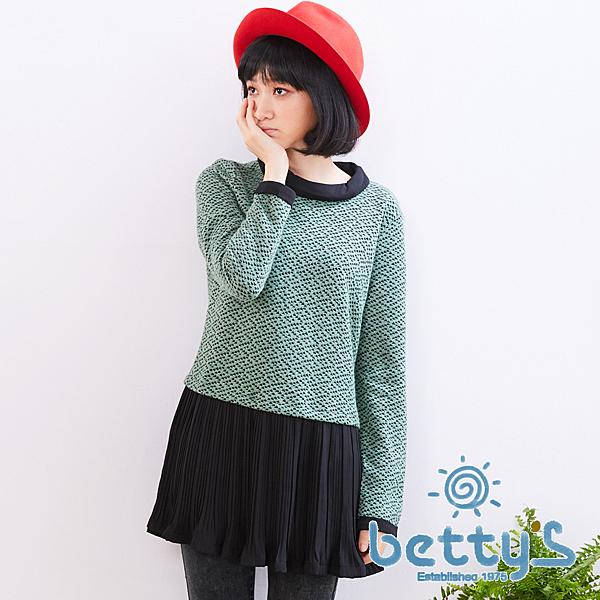 betty's貝蒂思 下擺拼接百褶雪紡假兩件式針織衫(綠色)