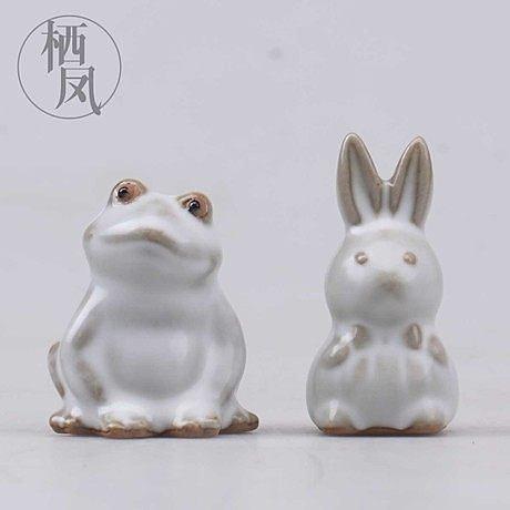 【兔子】精品汝窯 純手工動物茶寵擺件
