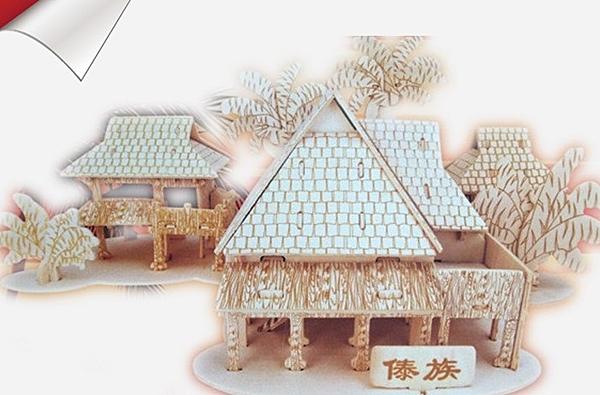 【協貿國際】木質拼裝3D立體拼圖傣族竹樓