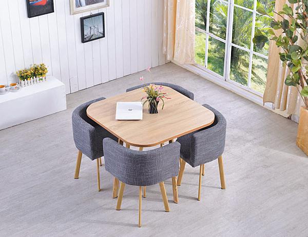 【IS空間美學】四合一轉角圓桌椅(仿原木色/灰藍色布)(整組/恕不拆賣)