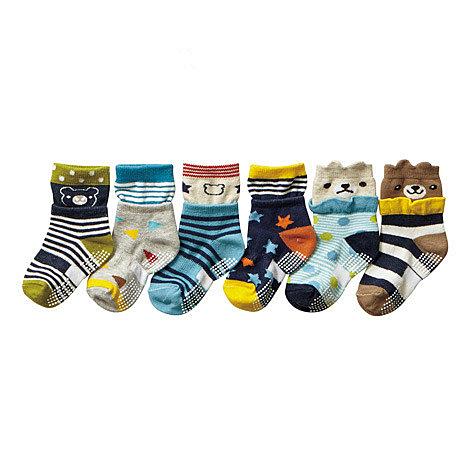 【韓風童品】(6雙/組)男童卡通造形襪子 防滑點膠襪 兒童襪子 嬰幼兒棉質襪 男童短筒襪子