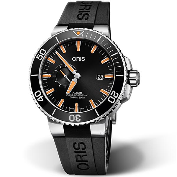 Oris豪利時AQUIS小秒盤潛水機械錶 0174377334159-0742464EB