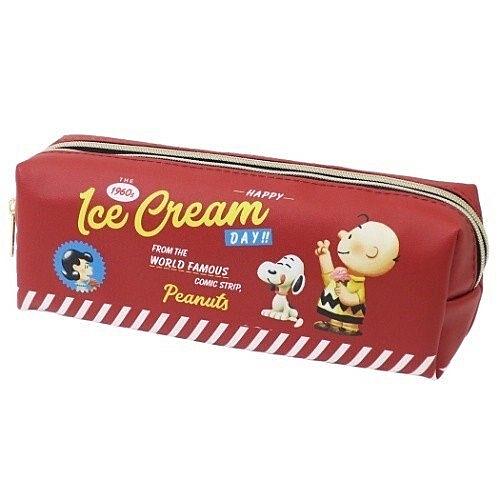 〔小禮堂〕史努比 皮質雙層拉鍊筆袋《紅.冰淇淋》化妝包.收納包.鉛筆盒 4979274-15676