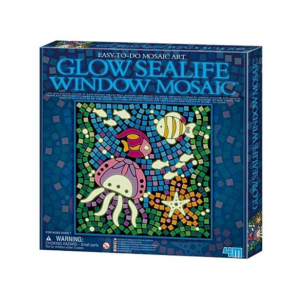 【4M】04648 美勞創作-馬賽克拼圖 螢光系列 (海洋) Glow Sealife