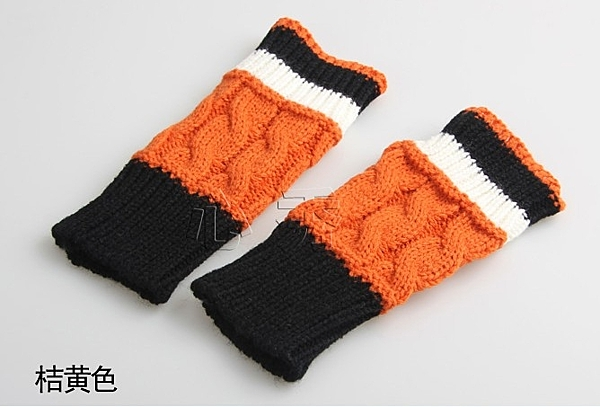[協貿國際]韓版韓國麻花半指針織手套橘色1入