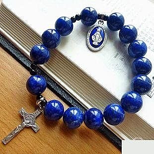 天主教飾禮品時尚簡約苦相十字架手鏈 青金石12mm