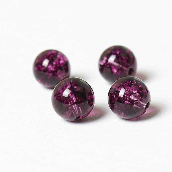 [超豐國際]水晶飾品配件水晶優化玫紅爆花串珠圓珠手鏈手工飾品1入