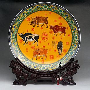 景德鎮陶瓷裝飾  粉彩青花瓷 五牛圖盤子 35cm