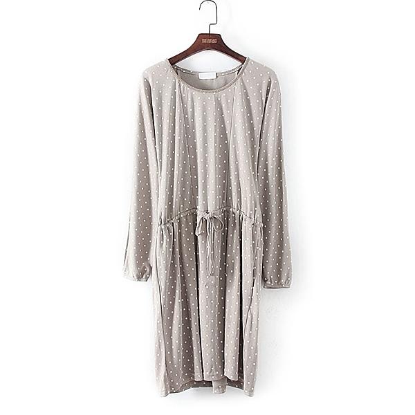 [超豐國際]好春秋裝女裝灰色波點圓收腰系帶長袖連衣裙 335(1入)
