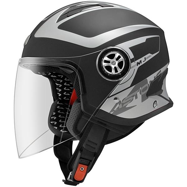 【東門城】ASTONE MJS AS1 (平黑銀) 半罩式安全帽 內藏墨片
